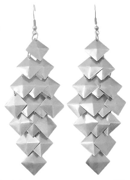 Pair of Square Cluster Metal Earrings