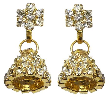 Pair of Gold Plated and White Stone Studded Jhumka Earrings