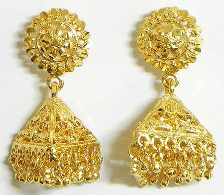 Gold Plated Triangle Jhumka Earrings