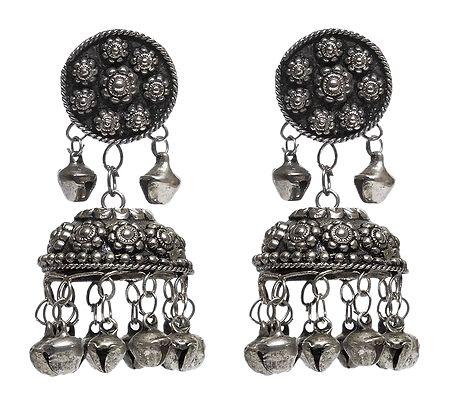 Oxidised White Metal Jhumka Earrings