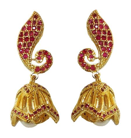 Red Stone Studded and Gold Plated Jhumka Earrings