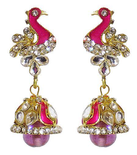 Pink Laquered Peacock with Kundan Jhumka Earrings