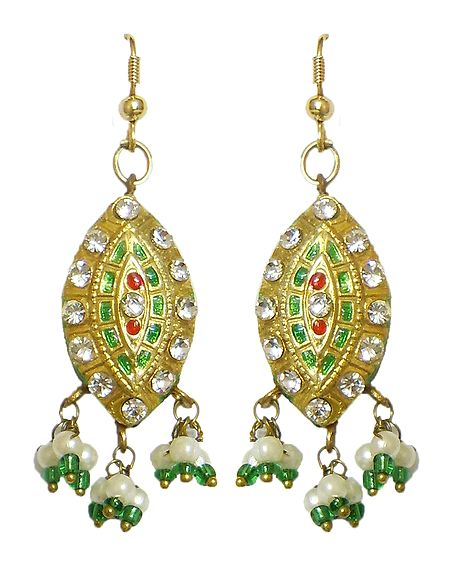 Stone Studded Meenakari Lac Earrings