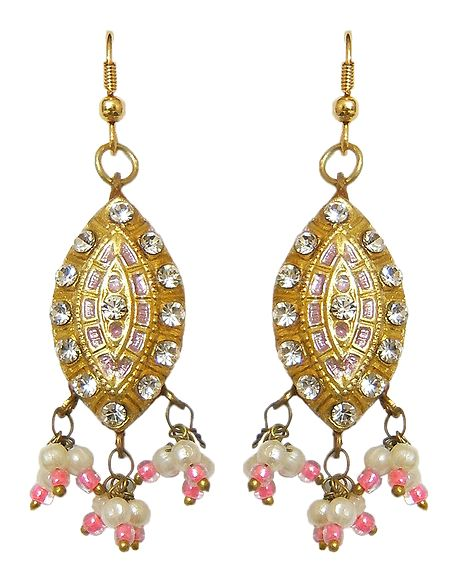 White Stone Studded Lac Dangle Meenakari Earrings