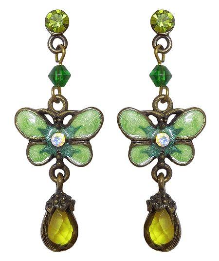 Green Stone Studded Butterfly Dangle Earrings