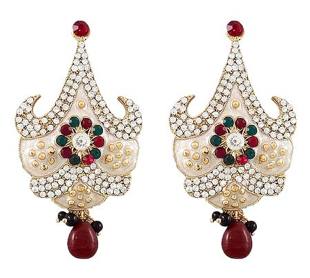 Stone Studded White Laquered Post Earrings