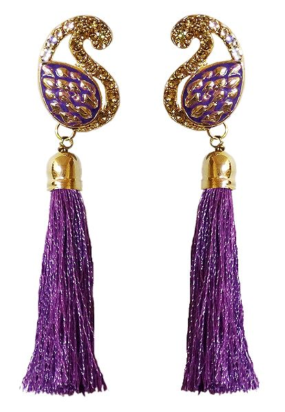 Purple Silk Thread Earrings