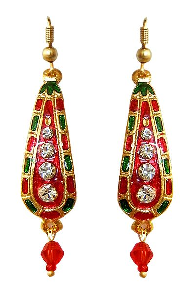 Red Wiith Green Meenakari Dangle Metal Earrings