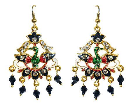 Golden with Black Meenakari Peacock Metal Earrings