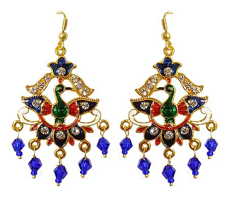 Golden with Blue Meenakari Peacock Metal Earrings