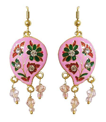 Pink Meenakari Paisley Design Dangle Metal Earrings