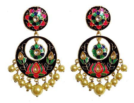 Black, Pink with Green Meenakari Metal Hoop Earrings