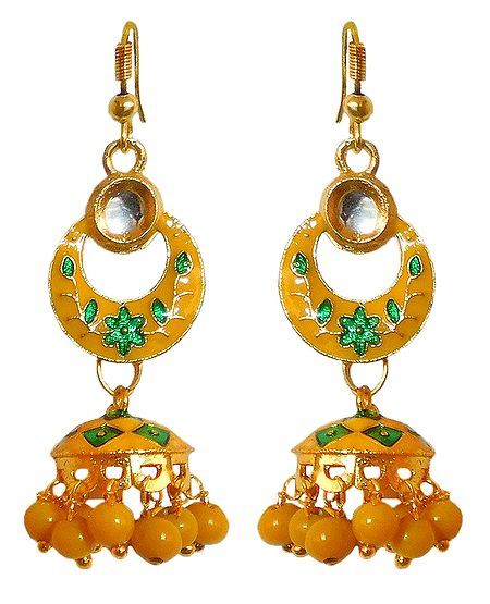 Yellow with Green Meenakari Metal Hoop with Jhumka Earrings
