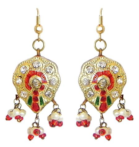Golden with Red Meenakari Earrings