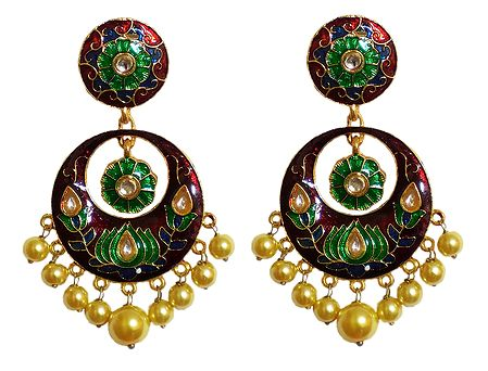 Maroon with Green Meenakari Metal Hoop Earrings