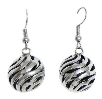 Steel Carved Ball Earrings
