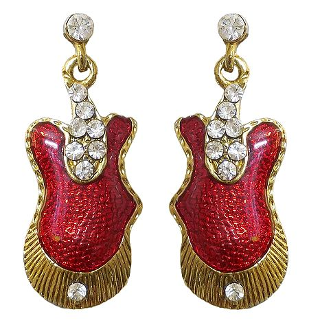 Lacquered Metal Stone Studded Earrings