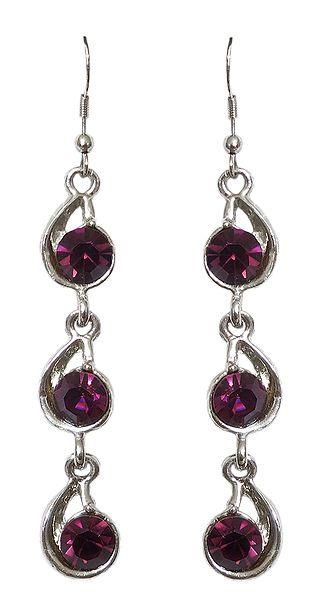 Purple Stone Studded Fashion Earrings
