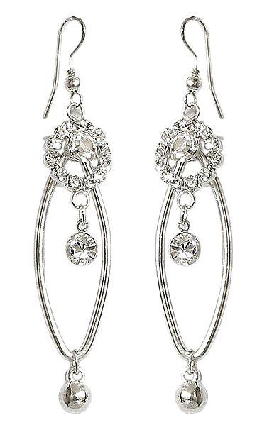 White Stone Studded Metal Earring