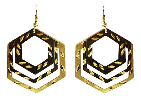 3 Layered Brown with Golden Hexagonal Hoop Earrings