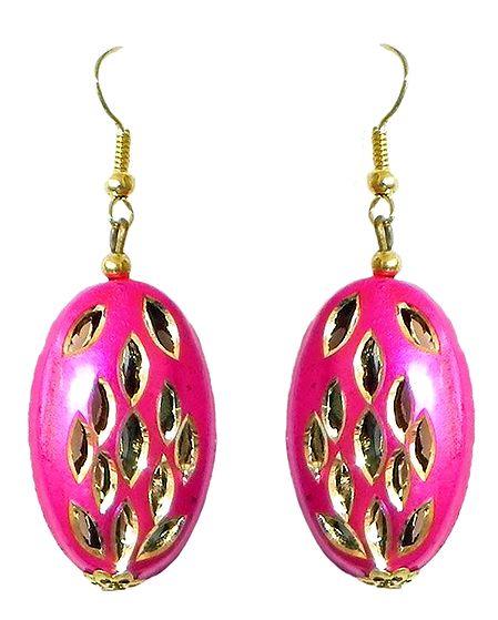 Oval Shaped Magenta Metal Earrings