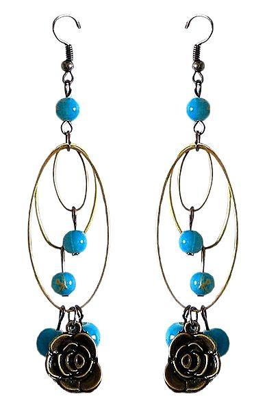 Blue Bead Metal Earrings