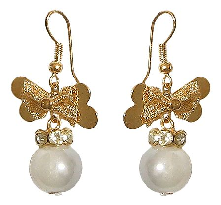 White Stone Studded Bead Earrings with Metal Butterfly