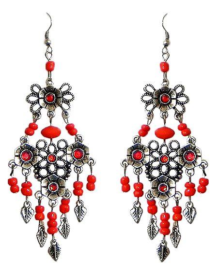 Red Beaded Oxidised Metal Earrings