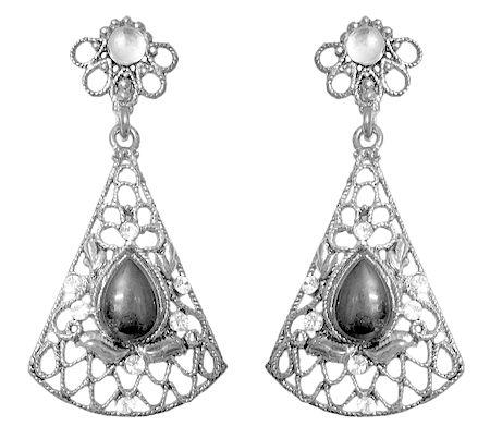 Oxidised Metal Dangle Earrings with Faux Black Onyx Stone
