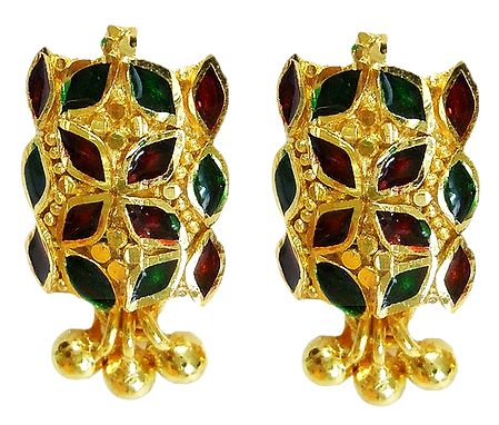 Red and Green Laquered Gold Plated Earrings