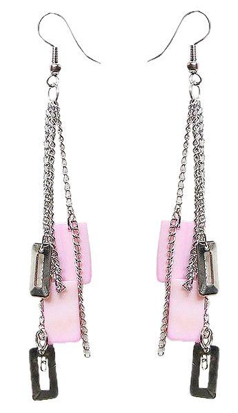 Pink Acrylic with Metal Earrings