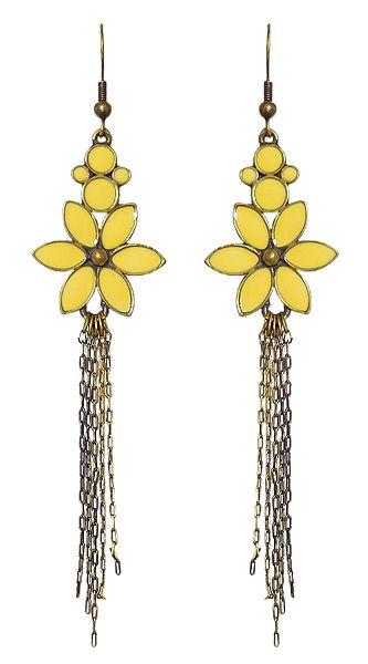 Fashionable Yellow Flower Earrings