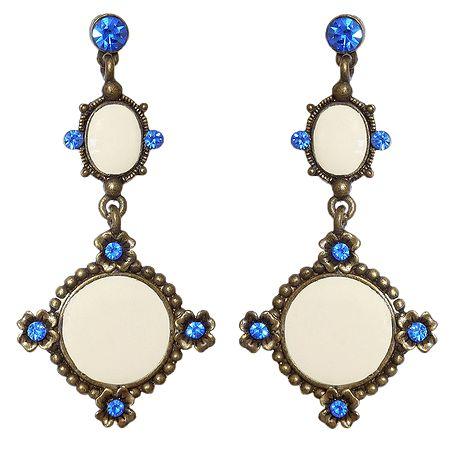 Blue Stone Studded Metal Dangle Earrings
