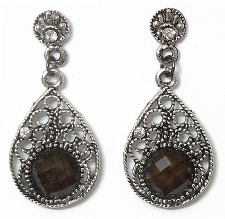 Pair of Stone Studded Oxidised Metal Dangle Earrings