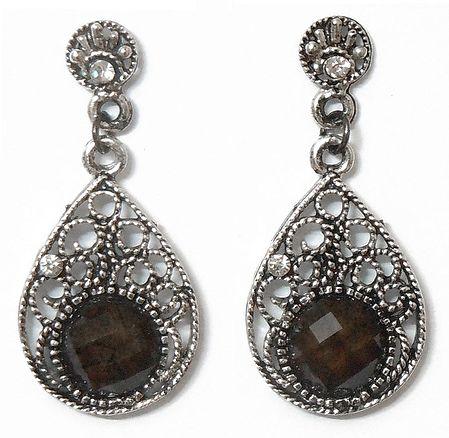 Pair of Stone Studded Oxidised Metal Dangle Earrings