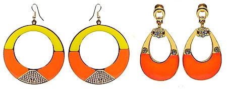 Set of 2 Pairs Saffron with Yellow Metal Hoop Earrings