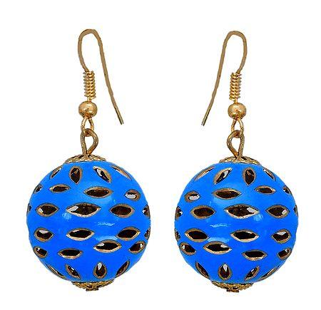 Metal Blue Ball Dangle Earrings