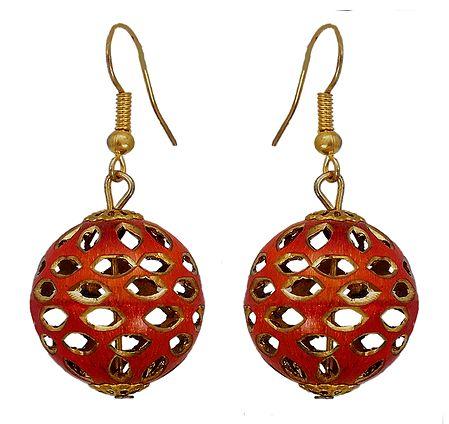 Metal Red Ball Dangle Earrings