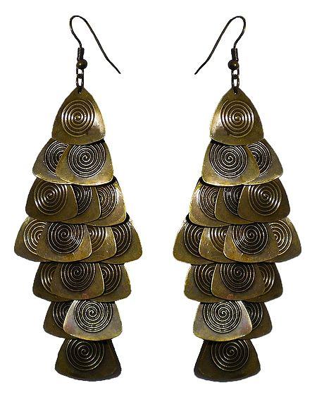 Camel Brown Metal Jhalar Earrings