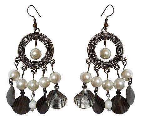 Metal Hoop Earrings with White Beads