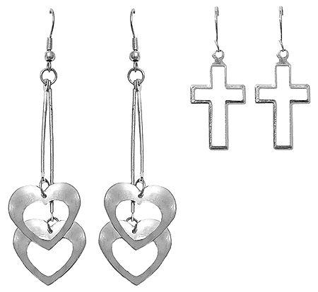 Set of 2 Pairs Metal Heart and Cross Earrings