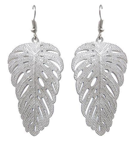 Metal Leaf Dangle Earrings with Fish Hook