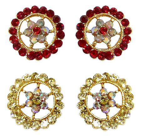Set of 2 Pairs White and Red Stone Studded Stud Earrings