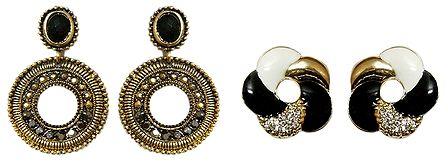 Set of 2 Pairs Metal Hoop and Spiral Stud Earrings