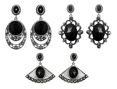 Set of 3 Pairs Faux Black Onyx Stone Studded Dangle Earrings