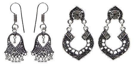 Set of 2 Pairs Oxidised Carved Metal Dangle Earrings