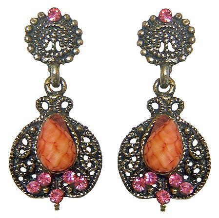 Stone Studded Oxidised Metal Dangle Earrings