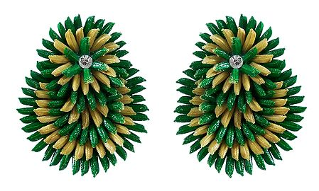 Green with Beige Paddy Earrings