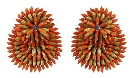 Saffron with Beige Paddy Earrings