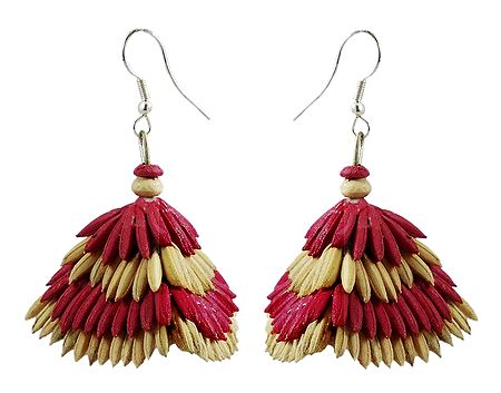 Red with Beige Paddy Jhumka Earrings